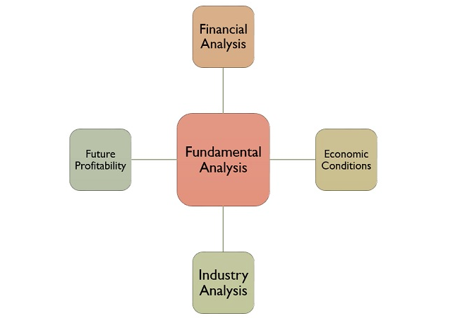A chart describing the relationship of fundamental analysis to financials, future profitability, economic conditions, and industry